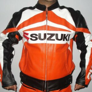 Suzuki GSXR Orange Motorcycle Racing Leather Jacket