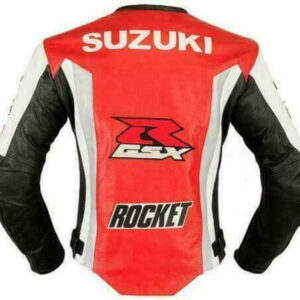 Suzuki GSXR Orange White Motorcycle Racing Jacket