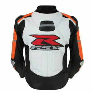 Suzuki GSXR Orange and White Motorcycle Jacket