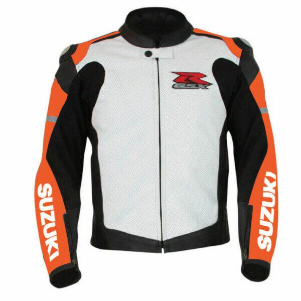 Suzuki GSXR Orange and White Motorcycle Jacket