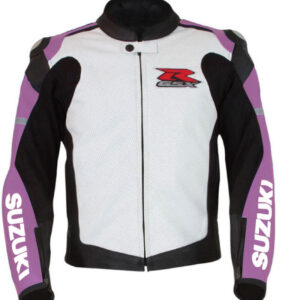 Suzuki GSXR Purple and White Motorcycle Jacket