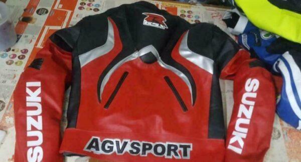Suzuki GSXR Red Black Motorcycle Racing Jacket
