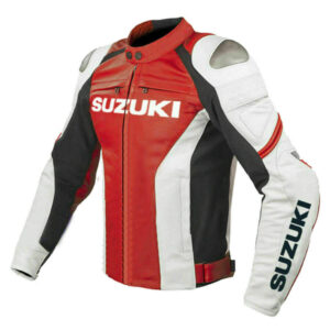 Suzuki GSXR Red and White Motorcycle Racing Jacket