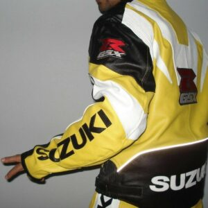 Suzuki GSXR Yellow Motorcycle Leather Jacket