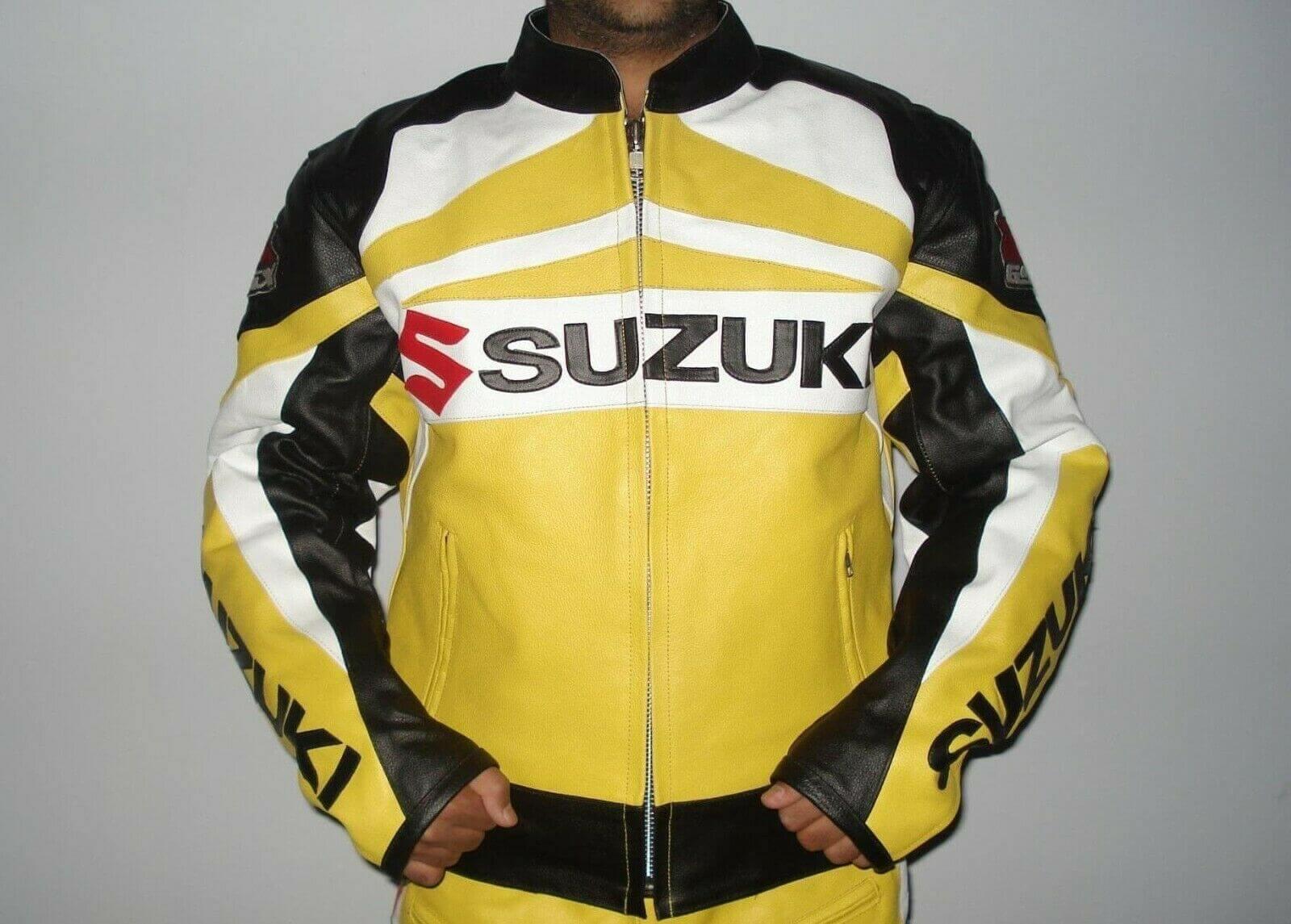 Suzuki GSXR Yellow Motorcycle Leather Jacket