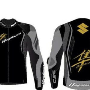 Suzuki Hayabusa Black and Grey Motorcycle Jacket