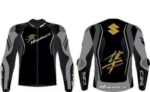 Suzuki Hayabusa Black and Grey Motorcycle Jacket