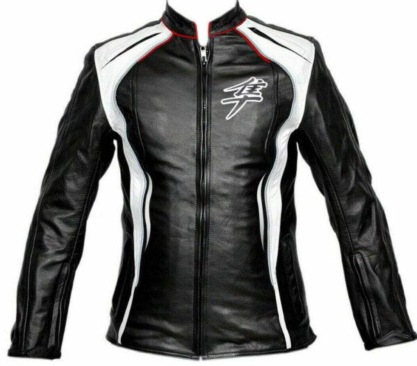 Suzuki Hayabusa Motorcycle Racing Leather Black Jacket