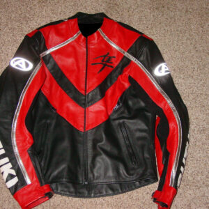Suzuki Hayabusa Motorcycle Red Leather Jacket