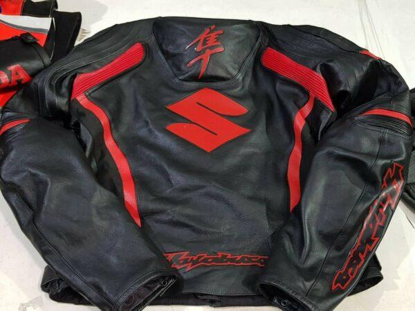 Suzuki Hayabusa Red Black Motorcycle Jacket