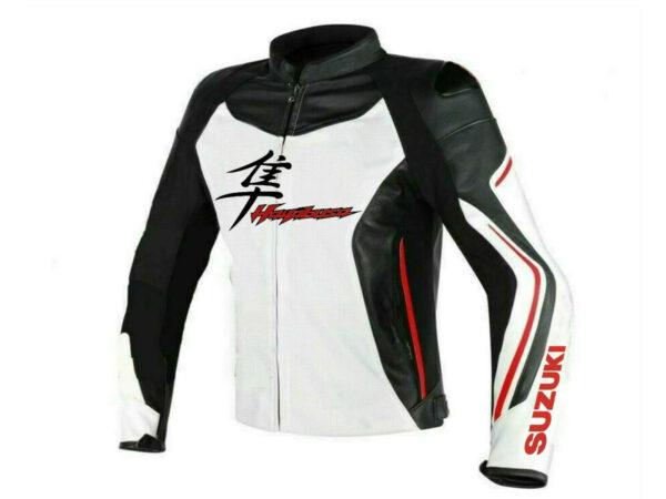 Suzuki Hayabusa White Motorcycle Racing Leather Jacket