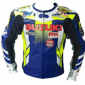 Suzuki Motorcycle Race Track Leather Jacket