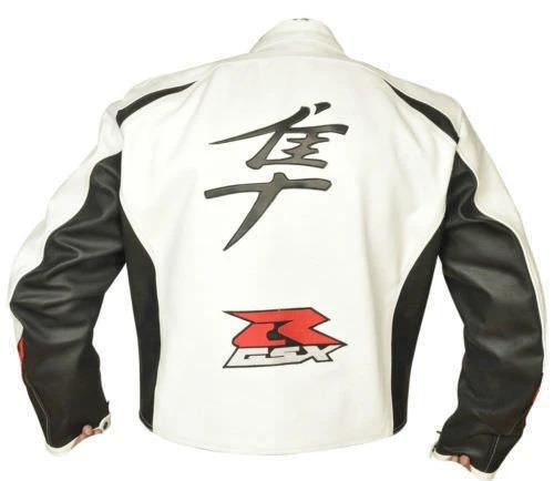 White Suzuki Hayabusa Motorcycle Leather Racing Jacket