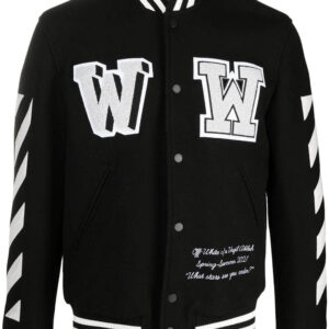 Black Appliqued Wool blend Striped Sleeves Bomber Jacket