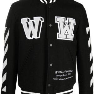 Black Appliqued Wool blend Striped Sleeves Bomber Jacket