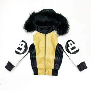 8 Ball Khaki White Robert Phillipe Jacket with Fur Hood
