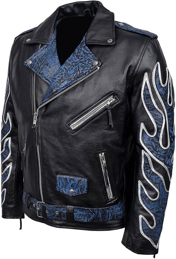 Black Classic Brando Blue Flames Biker Leather Jacket