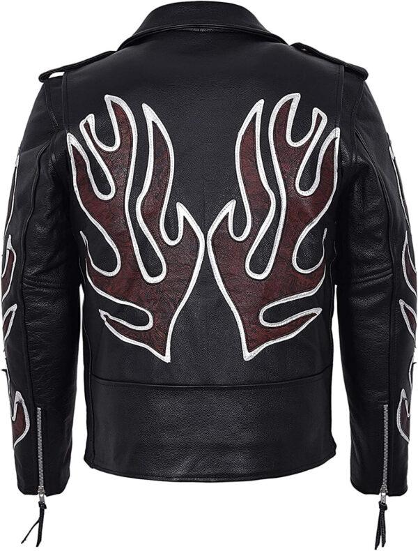 Black Classic Brando Flames Biker Leather Jacket