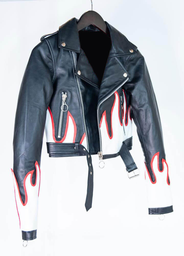 Black Cropped Flames Biker Leather Jacket