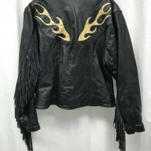 Black Fringed Snakeskin Flame Leather Jacket