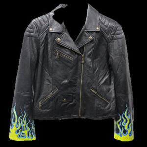 Black Hand Painted Yellow and Blue Flames Biker Jacket