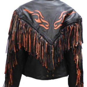Black Inlay Fringe Orange Flame Leather Jacket