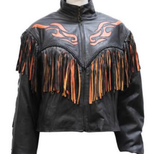 Black Inlay Fringe Orange Flame Leather Jacket