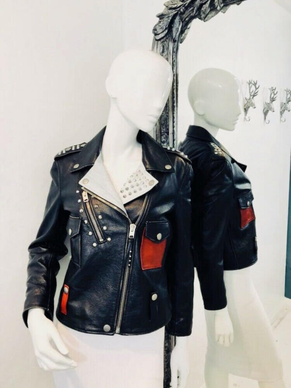 Black Mickey Mouse Studded Leather Jacket