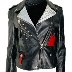 Black Mickey Mouse Studded Leather Jacket