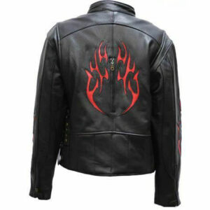 Black Racer Red Flame Leather Jacket