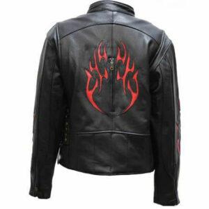 Black Racer Red Flame Leather Jacket
