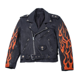 Black Vintage Flame Biker Skull Leather Jacket