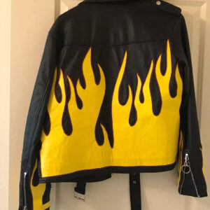 Black Vintage Yellow Flames Biker Leather Jacket