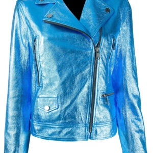 Blue Metallic Biker Leather Jacket