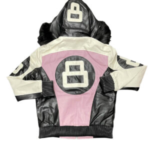 Blush Pink White 8 Ball Robert Phillipe Jacket with Fur Hood