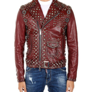 Burgundy Leather Silver Studded Belted Buckle Jacket