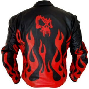 Flame Skeleton Black & Red Fire Leather Jacket