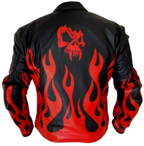 Flame Skeleton Black & Red Fire Leather Jacket