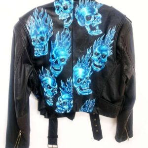 Flaming Skull Biker Leather Jacket