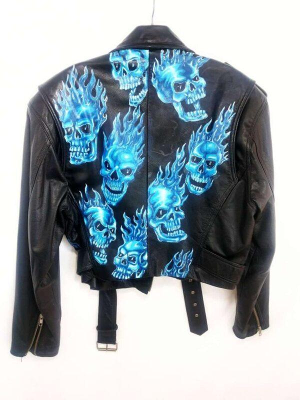 Flaming Skull Biker Leather Jacket