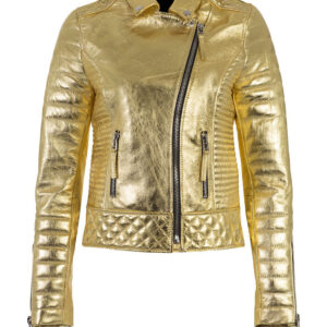 Golden Metallic Leather Padded Biker Jacket