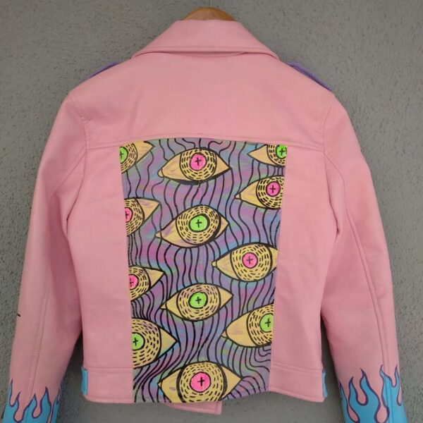 Hand Painted Flame Pink Biker Punk Style Leather Jacket