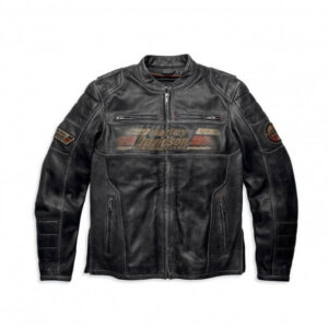 Harley Davidson Astor Patches Distressed Leather Jacket
