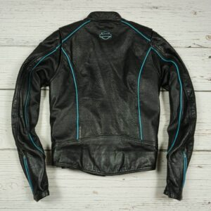 Harley Davidson Black Blue Motorcycle Leather Jacket