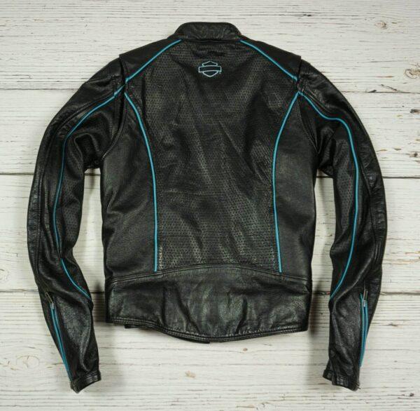 Harley Davidson Black Blue Motorcycle Leather Jacket