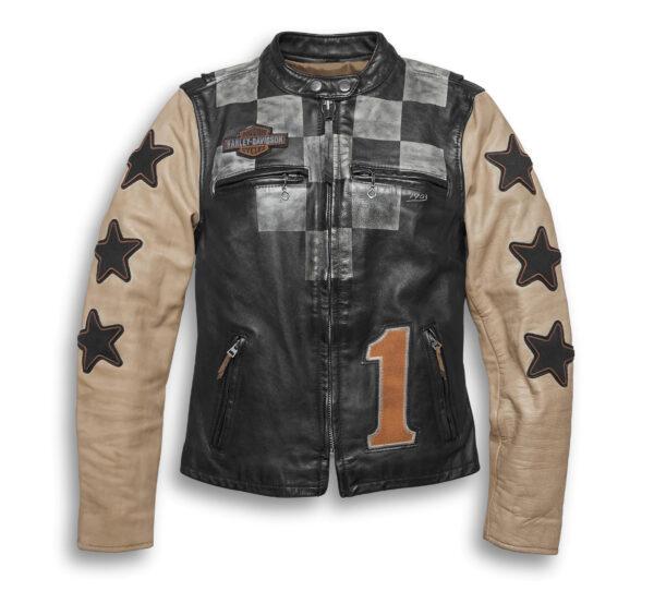 Harley Davidson Black Checkered Motorcycle Jacket