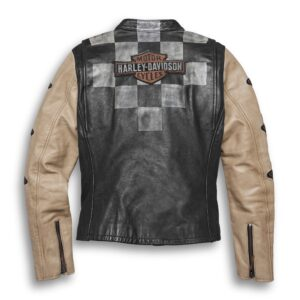Harley Davidson Black Checkered Motorcycle Jacket