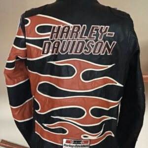 Harley Davidson Black Flame Leather Racing Jacket