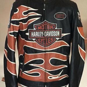 Harley Davidson Black Flame Leather Racing Jacket