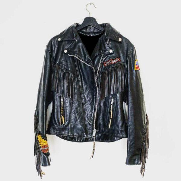 Harley Davidson Black Fringe Flame Biker Leather Jacket